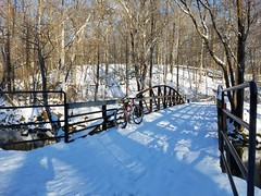 Bridge Over Accotink (mcfeelion) Tags: snow snowride cycling bike bicycle cct crosscountytrail annandaleva wakefieldpark winter