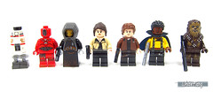 The newly designed minifigures and droids from the Solo movie (WhiteFang (Eurobricks)) Tags: lego star wars han solo story movie blockbuster spinoff gang outer rims tobias enfy nest high speed chase millennium falcon mf lando bet parsec crew ship corellian