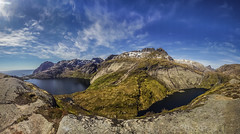 panorama munken hike (Wim van de Meerendonk, loving nature) Tags: munken lofoten norway lake mountain mountainscape monumental nature outdoors outdoor ocean oceaan blue bright color colors colours colour clouds cloud fjord green landscape panorama rock rocks sony sky scenic snow view valley wimvandem water golddragon