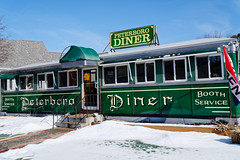 Peterboro Diner (fotofish64) Tags: diner peterborodiner eatery restaurant americana sign vintagedinercar paintedsign color green blue winter snow peterborough newhampshire smalltown downtown northernnewengland outdoor newengland landmark pentax pentaxart kp kmount hdpentaxda21mmlimitedlens limitedlens primelens