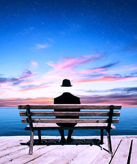 (*Twas Brillig*) Tags: portrait surreal surrealism stars sunset bench sky clouds fineart