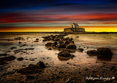 St Cwyfan Sunset (Adrian Evans Photography) Tags: horizon sand church rhosneigr sea wales beach uk aberffraw pebbles cribinau llangwyfan landscape sunset landmark outdoor clouds religion northwales sony coastline stcwyfan churchinthesea anglesey porthcwyfanbay architecture causeway rocks seascape sky coast adrianevans a7r