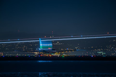 level airlines turns on to  the active runway (pbo31) Tags: bayarea california night dark black color december 2018 boury pbo31 nikon d810 city lightstream motion reflection sanfranciscointernational sfo airport airline sanmateocounty aviation flight travel plane burlingame runway airbus level