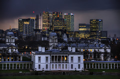New Global Disorder (Dimmilan) Tags: uk england london greenwich docklands urban architecture buildings night nightlight sky rain clouds twilight thames