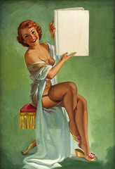 Pin-up with sign by Pearl Frush (gameraboy) Tags: pearlfrush painting art illustration vintage woman sexy pinupwithsign stockings thighhighs