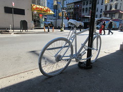 2019 February Ghost bike death on 45th street NYC 4215 (Brechtbug) Tags: ghost bike death 45th street green light pole tribute bicycle accident victim sidewalks flowers stickers note pavement new york city 2019 nyc memorial rip wings art memorials mark sites of victims who were killed in traffic february 02042019 midtown manhattan 72 year old man hitandrun monday morning the incident was reported eighth avenue west 553 am responding officers said they found joseph chiam