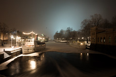 Frozen Harbour (Eklandet) Tags: winterscape winter cold snow ice frost boats frozen harbour night river sverige sweden uppsala