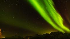 Northern Lights over Lyngen Alps (pboolkah) Tags: canon canon5d canon5dmkiv sky astro stars mountains snow alps lyngen northernlights green polar auroa