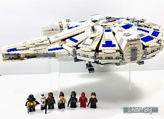 Flying off to a brand new adventure (WhiteFang (Eurobricks)) Tags: lego star wars han solo story movie blockbuster spinoff gang outer rims tobias enfy nest high speed chase millennium falcon mf lando bet parsec crew ship corellian