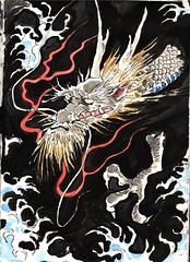 竜 (Zntt) Tags: dragon japan japanese kanji watercolor oriental art pencil ink blue black fire wave japaneseart