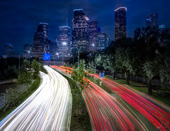 Houston Freeway (http://sotochristian2.500px.com/) Tags: building cartrail cityscape downtown freeway houston longexposure skyscraper