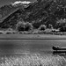 A Canoe, Ducks, a Lake and a Mountain Backdrop (Black & White, North Cascades National Park Service Complex)