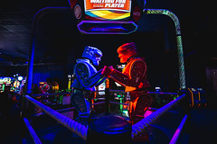 Game Night (3rd-Rate Photography) Tags: rock'emsock'emrobots arcade davebuster's mattel game arcadegame robot redrocker bluebomber canon 1635mm jacksonville florida 3rdratephotography earlware 365