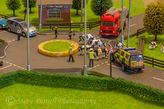 The Escapologists (Steve Purnell Photography) Tags: police firebrigade cows field roundabout road escapees fantasy littlepeople abstract trees buildings hedges policeservice policemen firemen policevehicle fireengine people cars fences grass fun humour