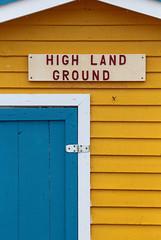 High Land Ground (peterkelly) Tags: digital canon 6d northamerica canada newfoundlandlabrador cavendish yellow blue shed door sign beach