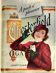 Pose by a Giant Pack of Chesterfields (saltycotton) Tags: smoking cigarettes chesterfield fashion hat gloves vintage magazine advertisement ad 1941 1940s