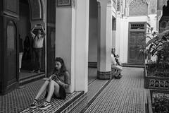 Studying Art History (Jethro_aqualung) Tags: nikon d800e 35mm bw bn monochrome people portrait jethroaliastullph maroc marrakesh kasbah study history art
