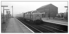 ECML memories (david.hayes77) Tags: tsbg semaphores newark newarkontrent notts nottinghamshire newarknorthgate ecml eastcoastmainline napier deltic class55 55014 thedukeofwellingtonsregiment monchrome bw blackandwhite ilford fp4 gn greatnorthern 1975
