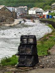 Boscastle Cornwall (saxonfenken) Tags: 1168corn 1168 pots crab lobsterpots boscastle cornwall stream creek bridge village