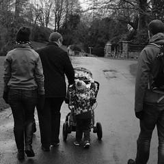 Hamish pushing Molly's pram (timnutt) Tags: sizergh sizerghcastle cumbria 35mm children garden xt2 bw acros monochrome lancashire mono fuji fujichrome family blackandwhite 35f2wr fujifilm
