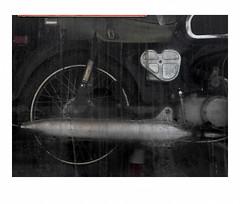 Motorcycle in window, color HI-RES version (Richard C. Johnson: AKA fishwrapcomix) Tags: panasonic lumixg9 20mmf17 color shopwindow repairshop midcenturymodern reflections selfportrait shadows superior wisconsin smallbusiness honda hires motorcycle vintage mechanicsshop modernity icamesofarforbeauty sictransitgloriamundi