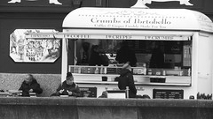 Lunch by the Sea 01 (byronv2) Tags: edinburgh edimbourg scotland promenade street candid peoplewatching eating coffee diner crumbsofportobello portobello seafront seaside coast coastal firthofforth rnbforth river riverforth blackandwhite blackwhite bw monochrome coffeekiosk