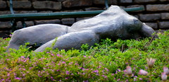 Naked between the flowers (Phil*ippe) Tags: statue naked woman flowers erotic