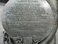 Plaque Commemorating 150 years of the Sydney Herald (Paddy Wack) Tags: heraldsquaresydney plaque fountains artwork beautiful animals sydney australia