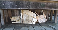 Under Shipwright's Workbench (sswj) Tags: shipwright workbench historic chinacampvillage sanrafael sanpablobay marincounty northerncalifornia chinacampstatepark composition leica dlux4 availablelight naturallight existinglight scottjohnson abstractreality abstract abstraction