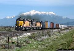 Mt. Nebo (jamesbelmont) Tags: railroad railway train unionpacific sharpsubdivision mountnebo juab utah drgw riogrande tunnelmotor emd sd402 sd40t2