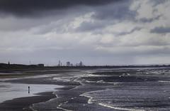 Alone (MarkWaidson) Tags: saltburn beach redcar steel works alone figure solitary sea sky