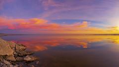 Splendid Smooth Still Shiny Sparkling Saturday Salton Sea Sunset Timelapse - Take 2 (slworking2) Tags: sky sunset niland california clouds timelapse saltonsea nilandmarina reflection lake water