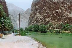 Oman 4 (Lennart Arendes) Tags: canon ae1 film analog 35mm kodak cinestill vision 3 50d 50mm oman wadi shab river mountains trees palms boat