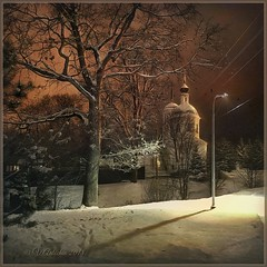 Winter evening in Belkino. (odinvadim) Tags: iphoneart landscape iphoneonly winter iphonex iphoneography specialist church mytravelgram painterlymobileart sunset old iphone snapseed evening artist instapickskyart frost obninsk oldhouse travel textured editmaster textures icolorama