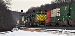 Drama on the West Slope (Images by A.J.) Tags: train railroad railway transportation cargo freight pennsylvania winter laurel highlands position light signal stack emd sd70ace illinois terminal pittsburgh line lilly west slope intermodal container norfolk southern