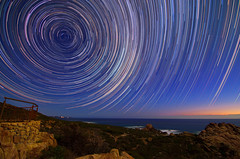 Star Trails - Cape Naturaliste, Western Australia (inefekt69) Tags: star trails cape naturaliste dunsborough sugarloaf rock cosmology southern hemisphere cosmos tracing startrailsexe circles tracks stacked stacking stack western australia dslr long exposure rural tokina 1116mm nightphotography nikon stars astronomy space galaxy astrophotography landscape d5100 sea ocean