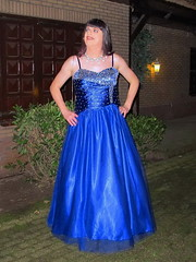 Blue ballgown (Paula Satijn) Tags: girl lady dress gown ballgown satin silk shiny skirt blue garden outside chic classy posh elegant happy smile joy fun peasure girly feminine sparkly beads sweet pretty cute night