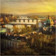 """from the series """"Walking around Prague."""" Autumn evening . (odinvadim) Tags: iphoneart landscape iphoneonly iphonex iphoneography specialist church mytravelgram autumn painterlymobileart old iphone snapseed evening artist travel sunset oldhouse textured editmaster river textures"""