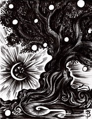 The Midnight Tree (Skyler Brown Art) Tags: art artwork bw blackwhite blackandwhite dark drawing gothic ink moon nature paper pen surreal tree