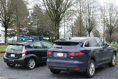 2016 Toyota Prius C and 2017 Jaguar F-Pace Prestige (D70) Tags: toyota prius c jaguar fpace suv blue black carsharing evo hybrid 2016 2017 prestige