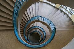 It's a blue one (Elbmaedchen) Tags: upanddownstairs schnecke snake drehwurm treppenhaus escalier blue blau architektur interior helix spirale staircase stairwell treppenauge treppe