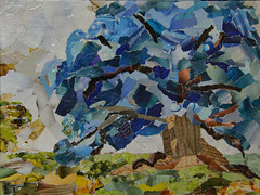 The Blue Tree (BKHagar *Kim*) Tags: bkhagar art artwork tornpaper collage tree blue