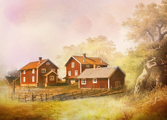 I once lived in  a village. (BirgittaSjostedt) Tags: ancient architecture building chill color cool cottage covered environment europe forest home house idyllic landmark landscape nature nordic north northern old outdoor park peaceful red road scandinavia scenic sky stone spring summer sunlight sunny sweden tourism traditional tree typical village weather wilderness window winter workhouse texture painting art fineart