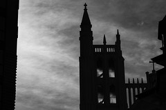 (ChrisRSouthland (mostly off, traveling & working)) Tags: wellington church tower light clouds contraluz contrast nikond850 nikkor70200mmf40 newzealand blackandwhite blackwhite monochrome schwarzweiss structure