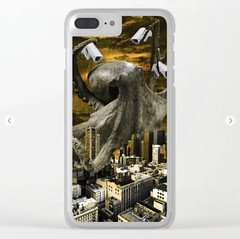 Modern Freedom Clear iPhone Case (marianv2014) Tags: octopus sky city power digitalmanipulation fromabove huge odd unusual quirky funny humor digitalcollage digitalart cctvcam surveillance freedom modern cityskyline rain mustard buildings tentacles anthropomorphic whimsical animals bigbrother newworldorder animalart octopusdecor marineanimal kraken creatures symbolism surreal surrealism illustration artwork art outdoors view digitallygenerated contemporary decor clear cases