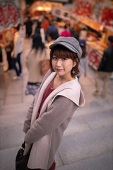 Young woman visiting market stall (Apricot Cafe) Tags: ap2a3229 asia beautifulpeople japan japaneseethnicity kyotocity kyotoprefecture millennialgeneration sigma35mmf14dghsmart autumn beret coat coatgarment colorimage elegance enjoyment gion leisureactivity lifestyles lookingatcamera lookingovershoulder market marketstall oneperson oneyoungwomanonly people photography relaxation serenepeople shorthair stairs sunset threequarterlength tourism travel women youngadult