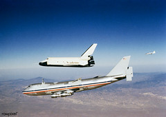 """The Orbiter 101 """"Enterprise"""" separates from the NASA 747 carrier aircraft S77-28931 to begin its first """"tailcone-off"""" unpowered flight over desert and mountains of Southern California. Oct 12th 1977. Original from NASA . Digitally enhanced by rawpixel. (Free Public Domain Illustrations by rawpixel) Tags: aircraft aircraftcarrier america atop enterprise ferry ferryflight flying inflight matedematedevices mounting name orbiter101 pdnasa publicdomain separating spaceshuttle spaceshuttleenterprise t38chaseplane tailconeoff transport transportation unitedstates unitesstatesofamerica usa"""