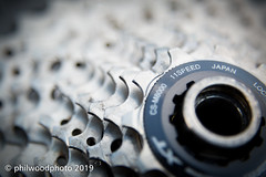 365-2019-076 - 11 Speed (phil wood photo) Tags: 11speed 12mm 365 365colorfun 365colourfun csm8000 cogs color365 colour365 day76 deorext gears gray grey macro march productphotography serviced shimano silver teeth xt