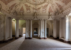 The age of the understatement (Dafne Op't Eijnde) Tags: ceiling architectre decorations white pillars exploring urban abandoned castle hall pompous italy decay decayed