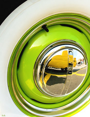rim with a view... (Stu Bo) Tags: canon certifiedcarcrazy coolcar classiccar canonwarrior wheel green yellow chromeisking oldschool onewickedride oneofakind ford vintagecar vintageautomobile vivid cruisenight sexonwheels